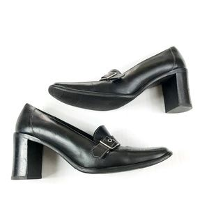 Coach Chunky Heeled Black Loafer Square Toe 9